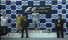 In the Brazilian GP in 2003 neither of the 3 podium finishers (Raikkonen, Fisichella & Alonso) were standing on their correct podium position