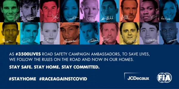 FIA, JCDECAUX AND #3500LIVES CAMPAIGN AMBASSADORS JOIN FORCES TO HELP FIGHT COVID-19
