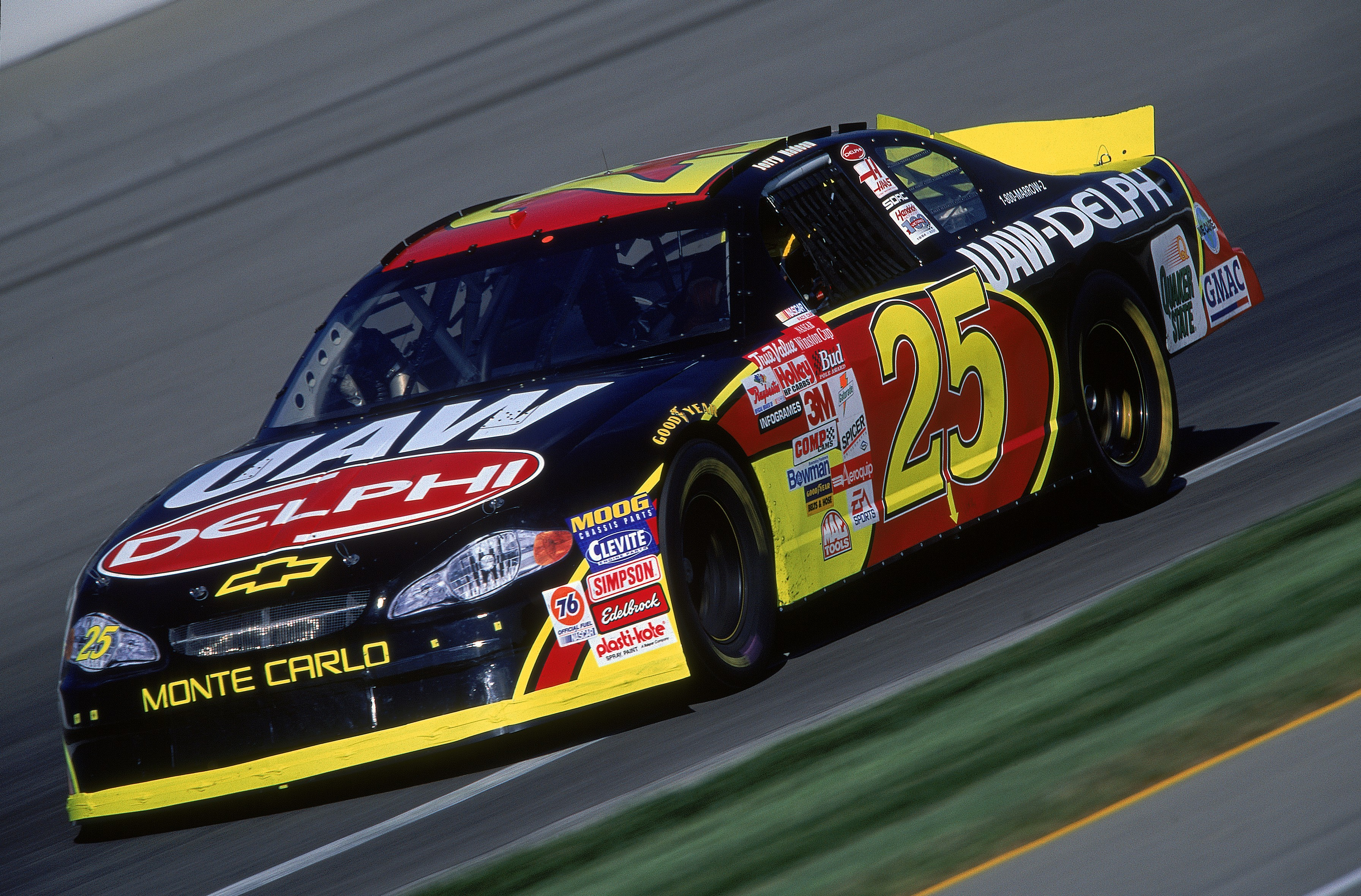 5 Aug 2001: Jerry Nadeau #25 who drives the Chevy Monte Carlo for Hendricks Motorsports in action during the Brickyard 400, part of the NASCAR Winston Cup Series at the Indianapolis Motor Speedway in Indianapolis, Indiana.Mandatory Credit: Robert Leberge /Allsport