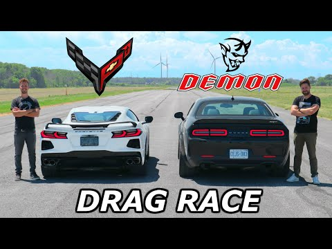 2020 C8 Corvette vs Dodge Demon // DRAG & ROLL RACE