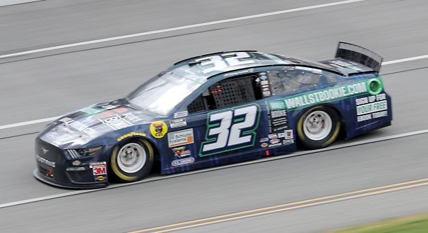TALLADEGA, ALABAMA - JUNE 22:  Corey LaJoie, driver of the #32 WallStBookie.com Ford, drives during the NASCAR Cup Series GEICO 500 at Talladega Superspeedway on June 22, 2020 in Talladega, Alabama. (Photo by Chris Graythen/Getty Images)   Getty Images