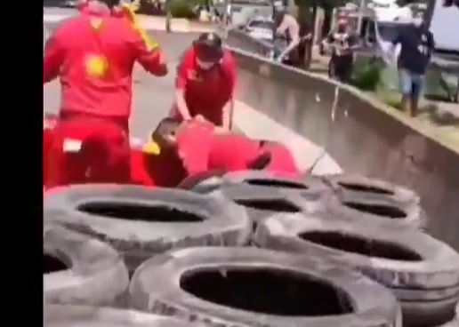 A Ferrari mechanic had his leg amputated after being hit by an F1 car